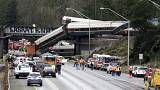 Three die as speeding train derails on highway bridge in Washington state