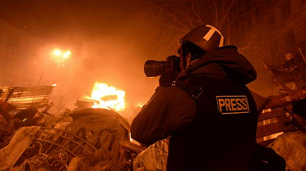 Journalist documenting events at the Independence square/Kyiv