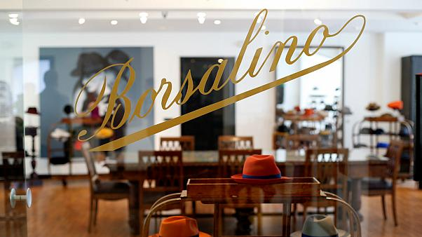 Borsalino hats are seen in the showroom of the factory in Alessandria