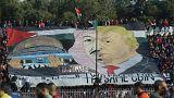 لافتة نصرة القدس التي رفعها مشجعون جزائريون في ملعب عين مليلة
