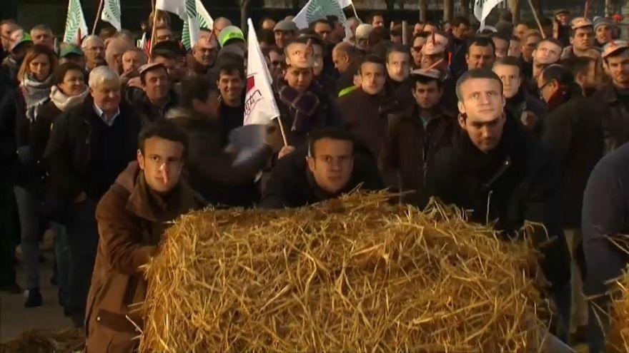 Los agricultores franceses se manifiestan contra Macron