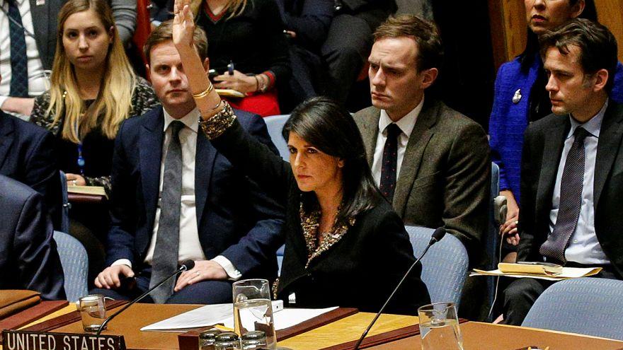 U.S. Ambassador to the United Nations Nikki Haley vetos