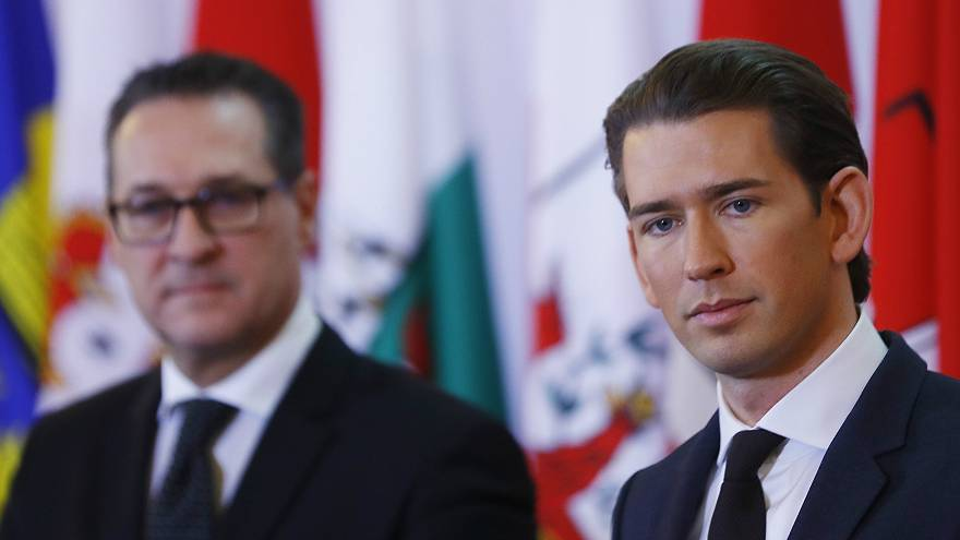 Austrian Vice Chancelllor Heinz-Christian Strache (L) and Chancellor Sebast