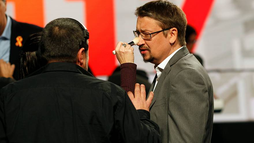 Xavier Domènech durante la preparación para el debate del 18 de diciembre.