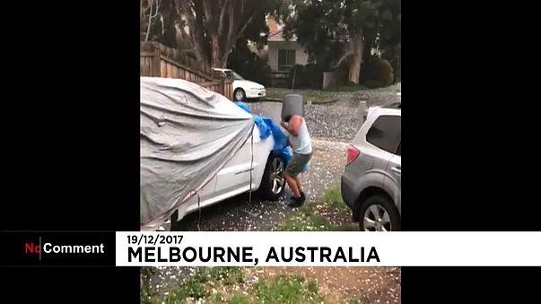 Tempestade de granizo ataca Melbourne