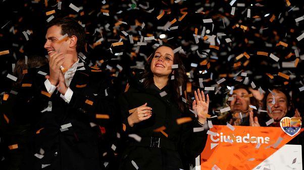 Catalan Ciudadanos leader Ines Arrimadas (C) smiles next to Ciudadanos