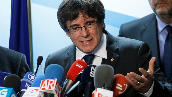 Carles Puigdemont, the dismissed President of Catalonia, attends a press co