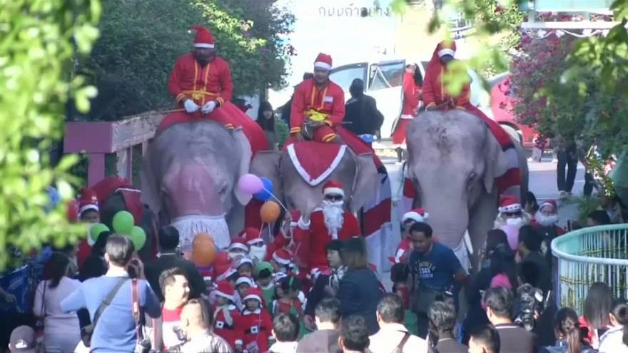 Christmas elephants visit school children in Thailand