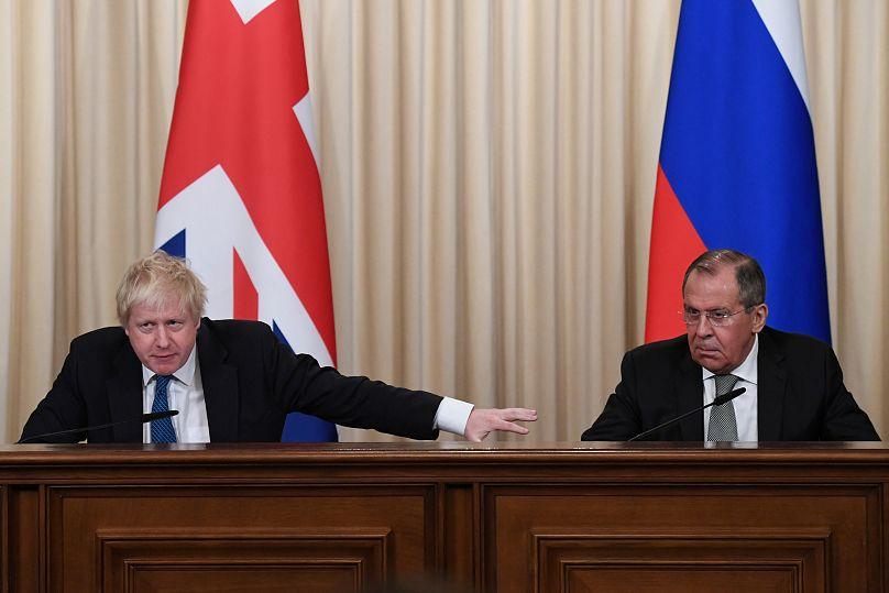 Boris Johnsond und Sergei Lawrow in Moskau