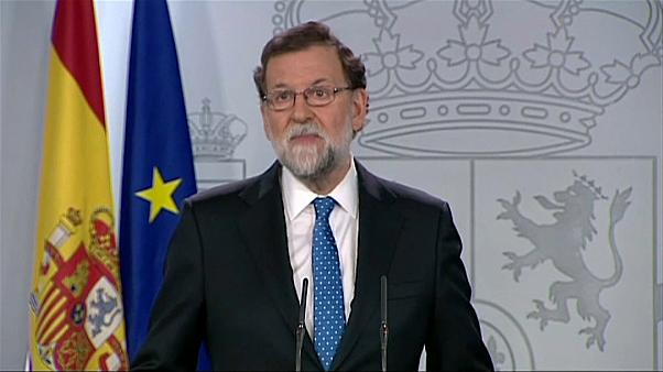 Spanish Prime Minister Mariano Rajoy speaks to the press