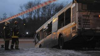 A view shows the scene of an incident involving a passenger bus