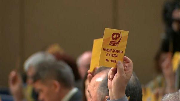 """Stimmzettel bei einer Parteiversammlung von """"Gerechtes Russland"""""""