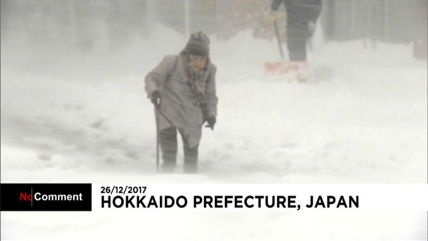 Tormentas de nieve en el norte de Japón