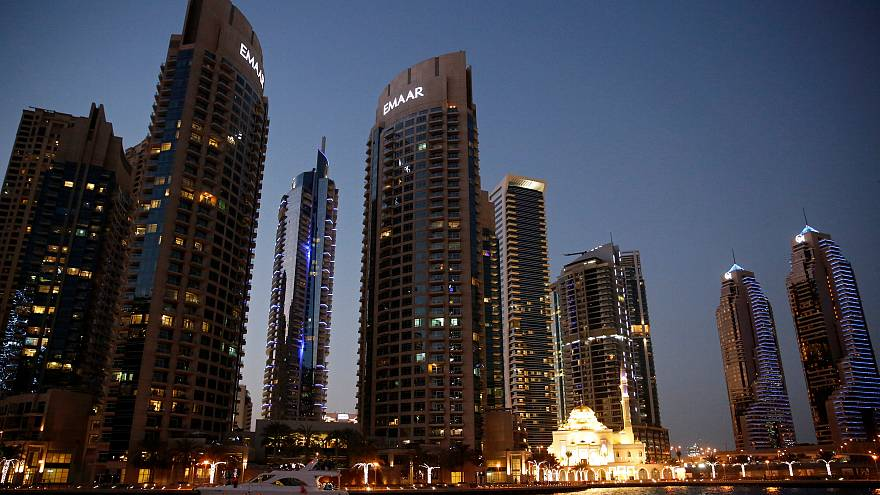 A tour boat is seen at the Dubai Marina in Dubai