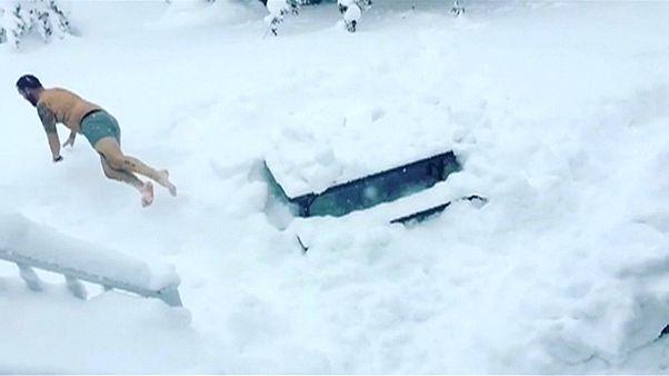 Kar yağışı ABD'de rekor kırdı