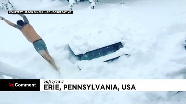Пенсильванцы радуются сильным снегопадам