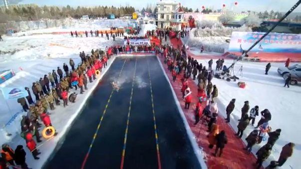 الصين: مسابقة للسباحة في المياه المتجمدة