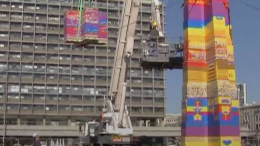 World's 'tallest' Lego tower erected in Tel Aviv in memory of young cancer victim
