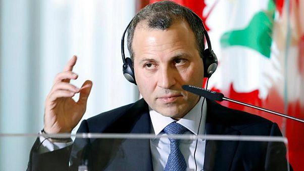 وزير الخارجية اللبناني جبران باسيل خلال اجتماع في روما يوم 15 نوفمبر تشرين