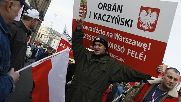 A Polish supporter of Hungary's Prime Minister Viktor Orban, Budapest, 2012
