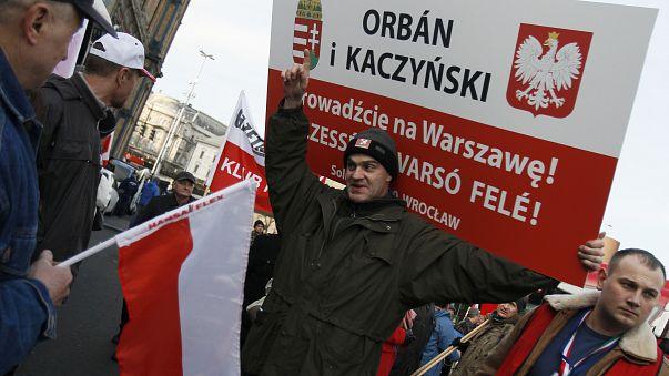 A Polish supporter of Hungary's Prime Minister Viktor Orban, Budapest, 2012