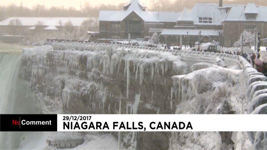 Cataratas do Niagara congelaram