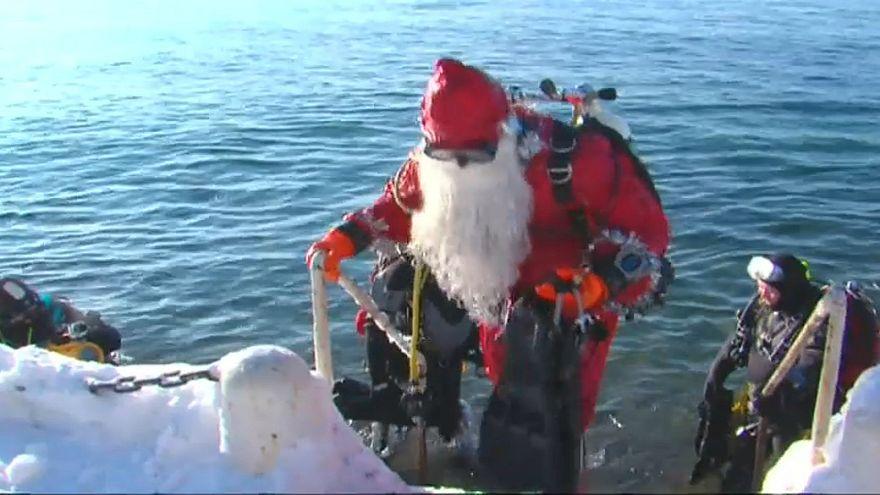 الغواصون الروس يحتفلون بالسنة الجديدة على طريقتهم