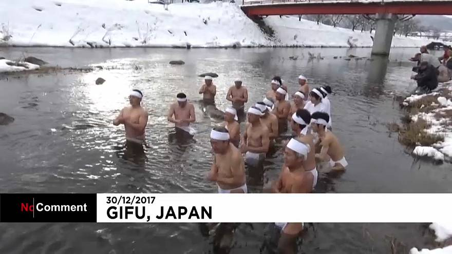 Men and women took part in the Shinto purification ritual