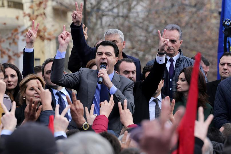 Albania's opposition Democratic Party leader Lulzim Basha speaks during a protest in front of the Parliament in Tirana.
