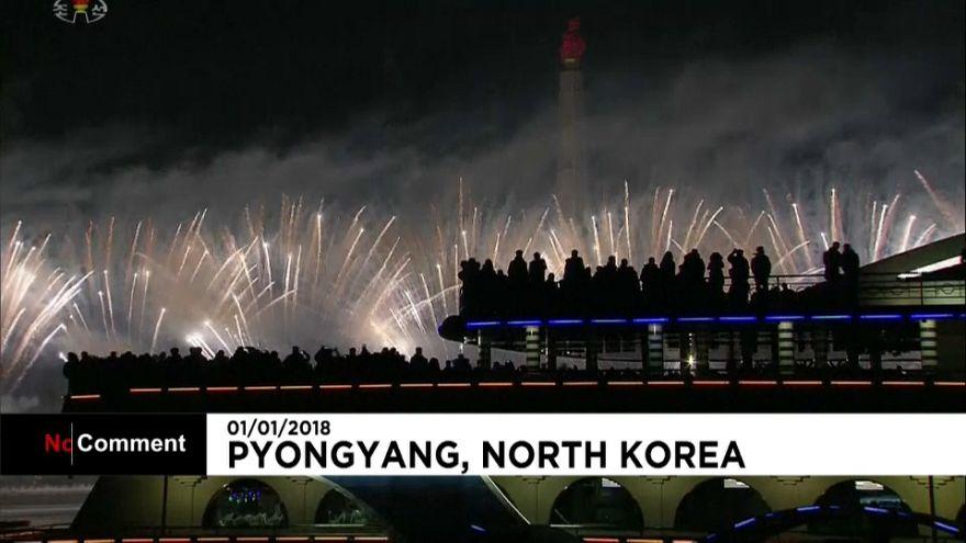 Coreia do Norte festeja a entrada em 2018