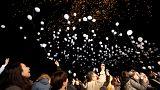 Luftballons über Tokio: Japan läutet 2018 ein