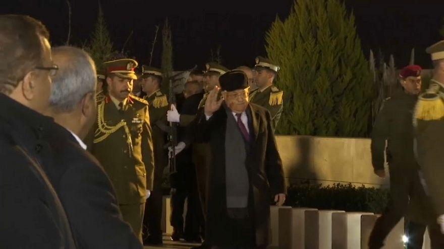 Palestinian President Mahmoud Abbas visits the grave of Yasser Arafat