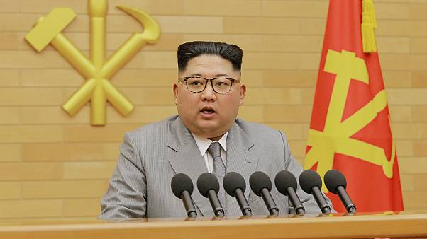 North Korea's leader Kim Jong Un speaking during a New Year's Day speech