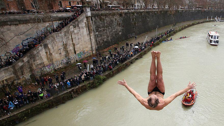 Plongeon du Jour de l'an à Rome