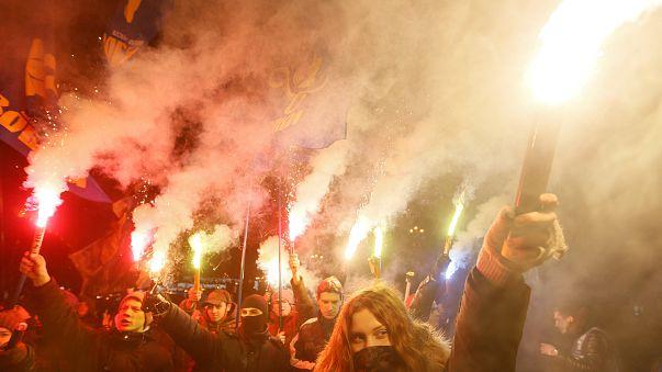 Banderára emlékeztek Kijevben
