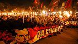 Marchas em honra do líder nacionalista ucraniano Stepan Bandera