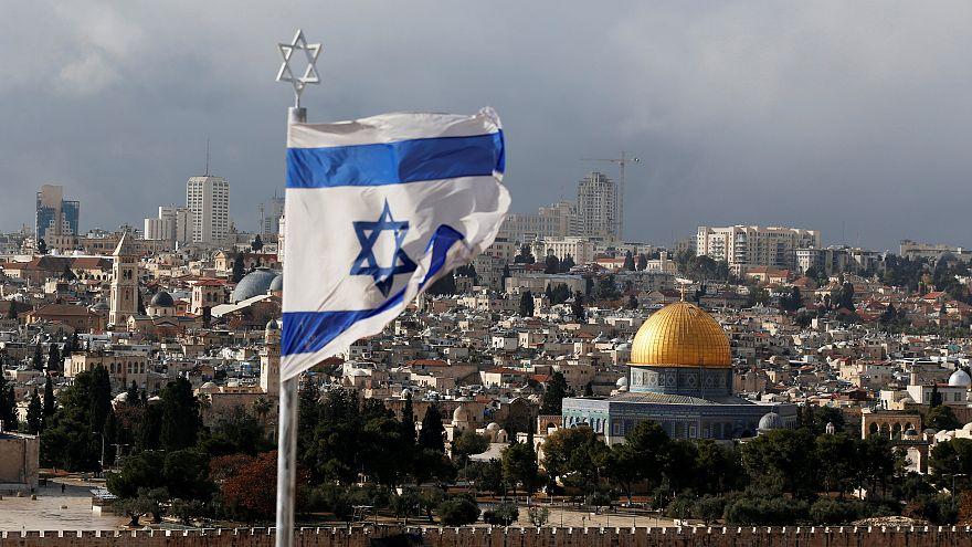 An Israeli flag in Jerusalem's Old City, Dec. 6, 2017