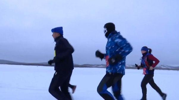 Eismarathon auf dem Drachenfluss