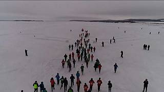 Maratón sobre un río helado en China