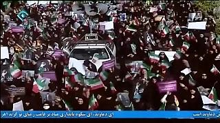 Marchers gather at a pro-government protest in Tehran