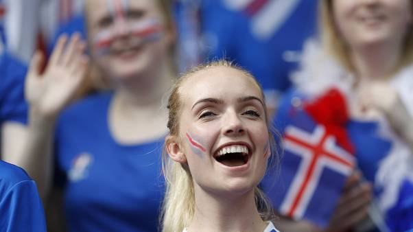 (FILE) Icelandic women cheer on team Iceland at Euro 2016.