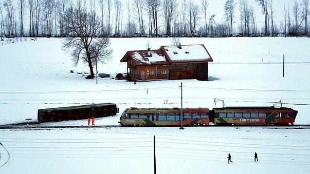 Storm derails train carriage in Switzerland