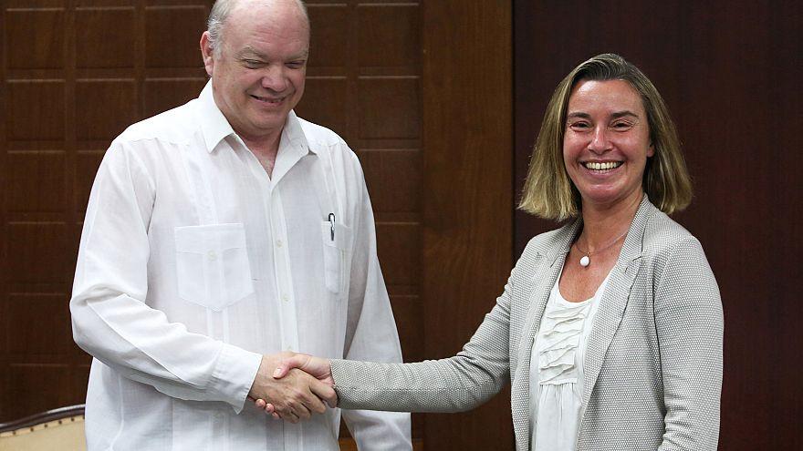 Federica Mogherini et Rodrigo Malmierca, ministre cubain de la coopération