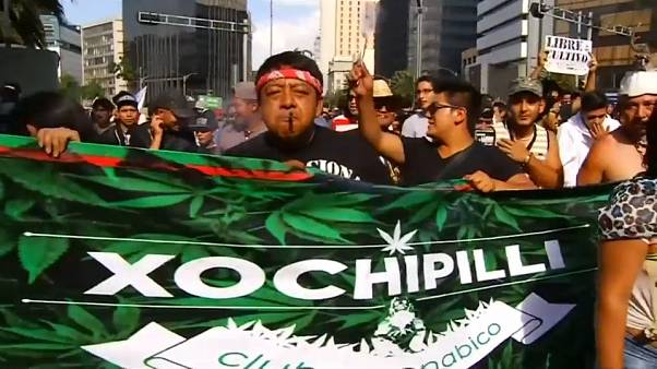 Manifestanti per la legalizzazione della cannabis a Città del Messico