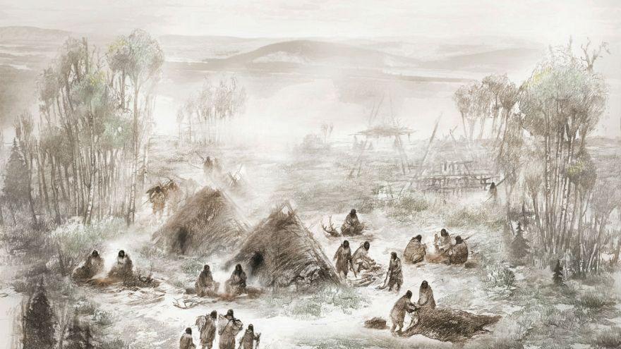Illusztráció az alaszkai Tanana folyó völgyében talált őskori táborhelyről.