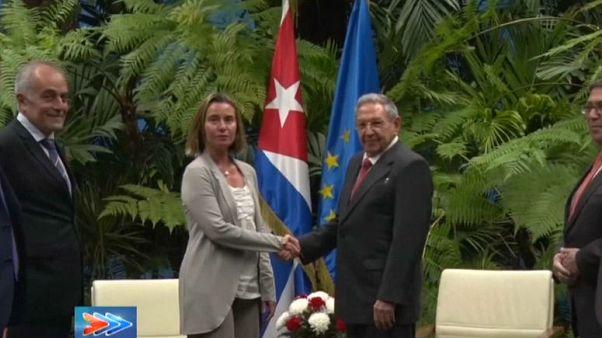 Federica Mogherini chez Raul Castro