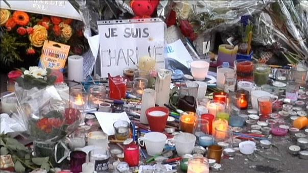 Candles and flowers at a makeshift memorial for Charlie Hebdo