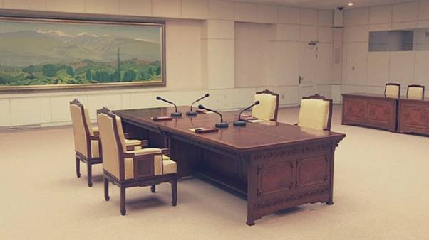MEETING ROOM AT PEACE HOUSE ON THE SOUTHERN SIDE OF TRUCE VILLAGE OF PANMUN