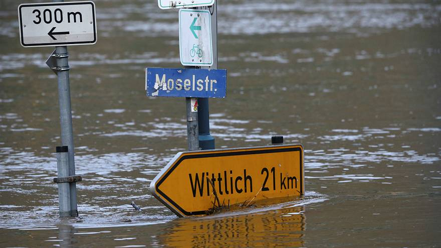 Street sign in Germany flooded by the river Moselle