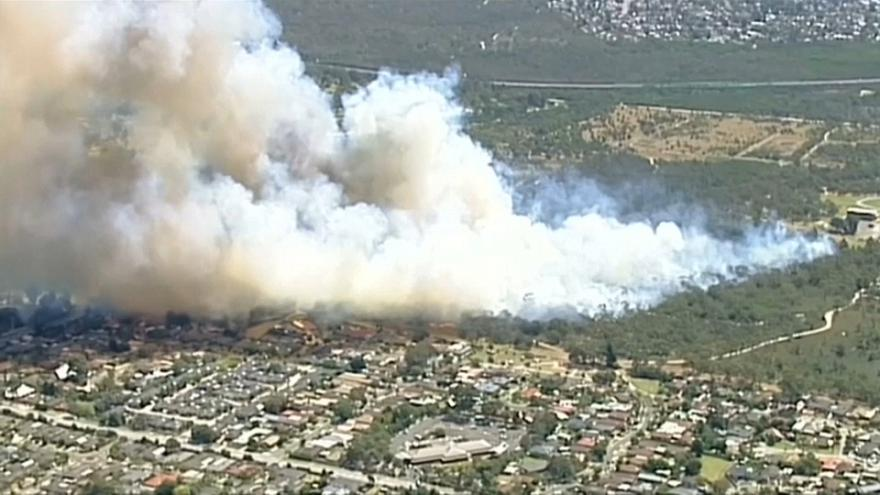 A bushfire leaves a massive trail over Carrum Downs in Melbourne